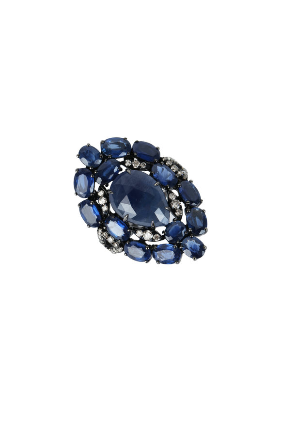 Sutra 18K Brown Gold Blue Rough Sapphire Ring