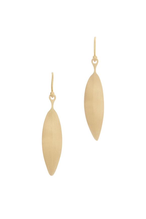Caroline Ellen 20K Yellow Gold Long Curved Leaf Earrings