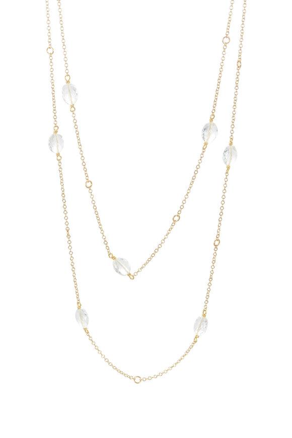 Caroline Ellen 18K Yellow Gold Cable Goshenite Necklace