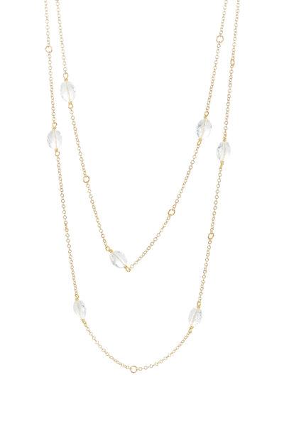 Caroline Ellen - 18K Yellow Gold Cable Goshenite Necklace
