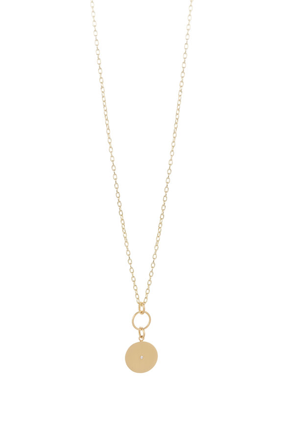 Caroline Ellen 20K Yellow Gold Disk Pendant Necklace