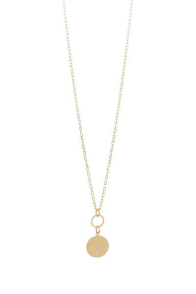 Caroline Ellen - 20K Yellow Gold Disk Pendant Necklace