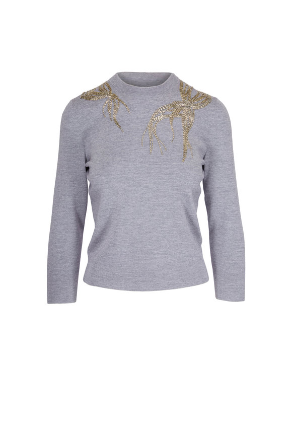 Alexander McQueen Grey Wool Silver Beaded Sweater