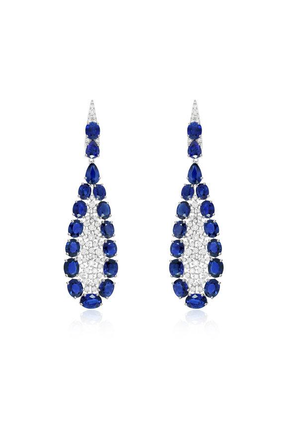 Sutra 18K White Gold Blue Sapphire & Diamond Earrings