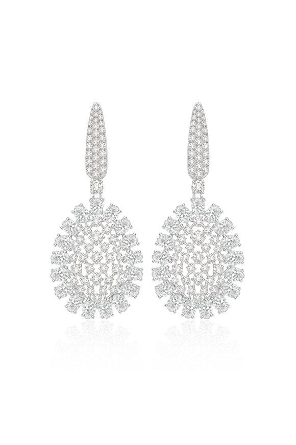 Sutra 18K White Gold Full Cut Diamond Earrings