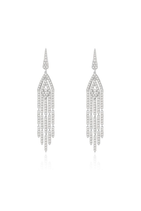 Sutra 18K White Gold Long Diamond Earrings