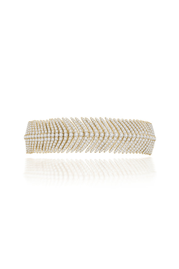 Sutra 18K Yellow Gold All Feather Diamond Bracelet
