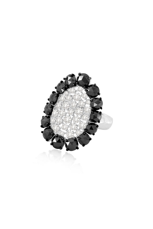 Sutra 18K White Gold Black & White Diamond Cocktail Ring