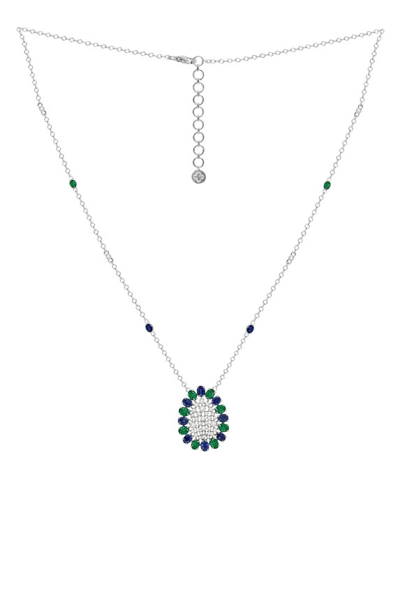 Sutra 18K White Gold Blue Sapphire & Diamond Necklace