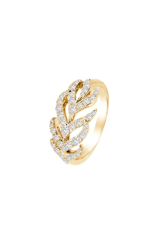 Sutra 18K Yellow Gold Feather Diamond Ring