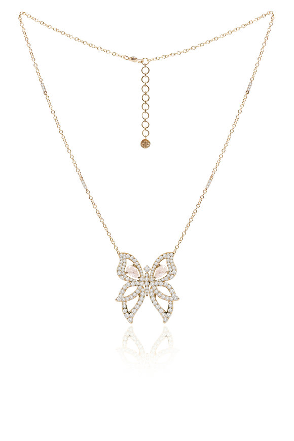 Sutra 18K Yellow Gold Diamond Butterfly Necklace