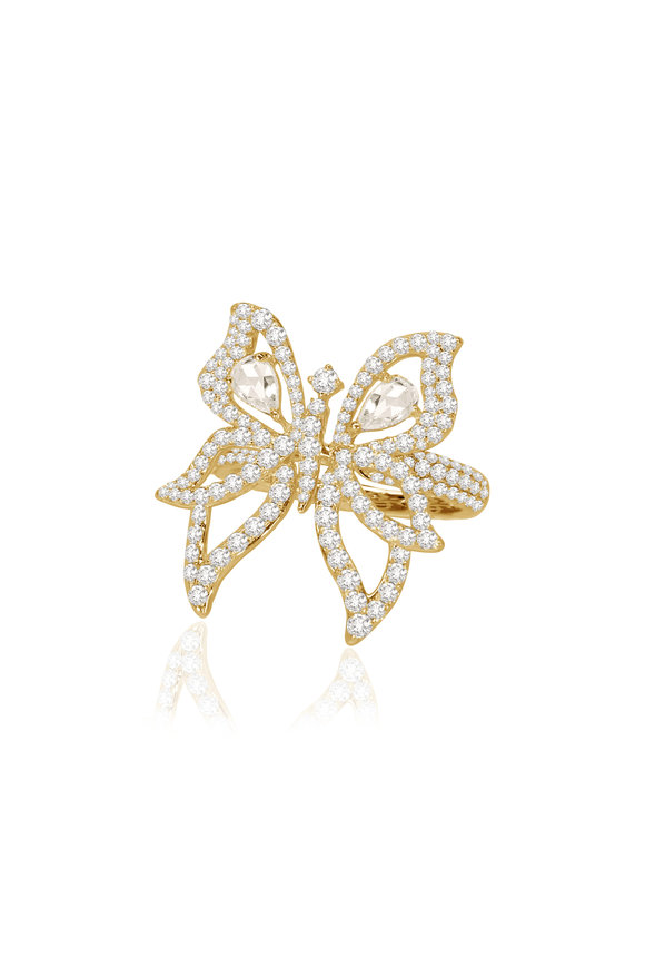 Sutra 18K Yellow Gold Diamond Butterfly Ring