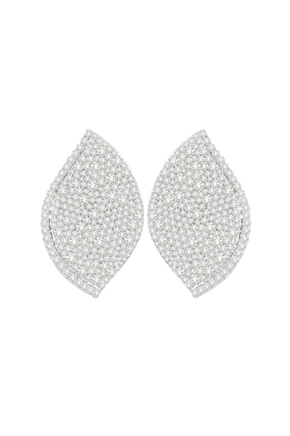 Sutra 18K White Gold Diamond Earrings