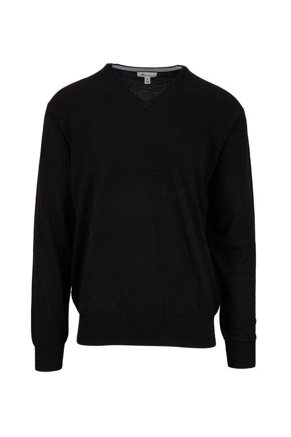 Peter Millar Black Wool & Silk V-Neck Pullover