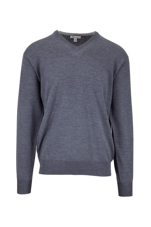 Peter Millar Charcoal Gray Wool & Silk V-Neck Pullover