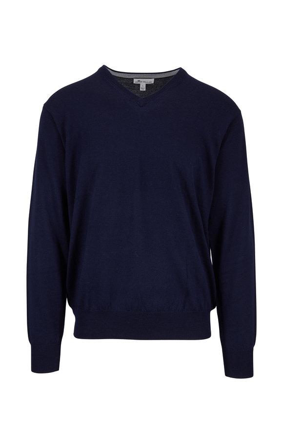 Peter Millar Navy Wool & Silk V-Neck Pullover