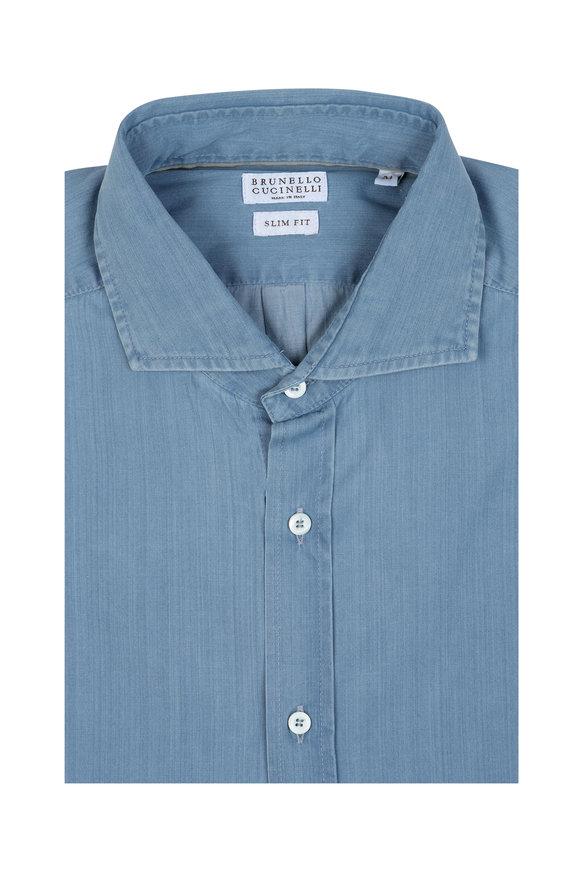 Brunello Cucinelli Blue Chambray Slim Fit Sport Shirt