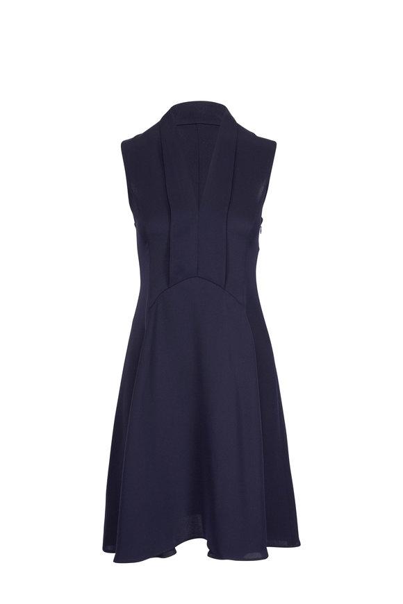 Derek Lam Navy Silk Scarf-Neck Detail Sleeveless Dress