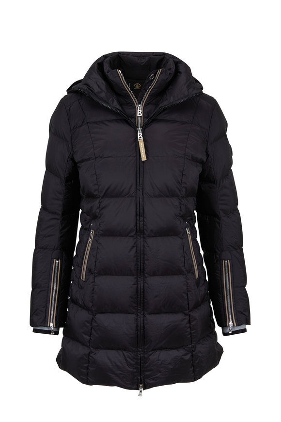 Bogner Rose Black Knit Cuff Puffer Coat