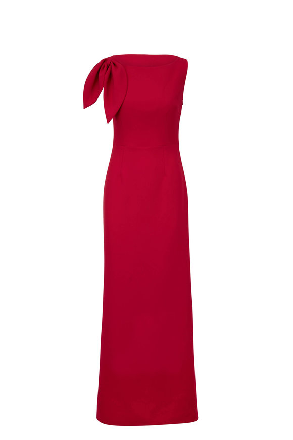 Safiyaa Ayleen Pink Heavy Crepe Bow Detail Gown