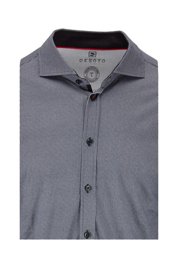 Desoto Black & White Printed Sport Shirt