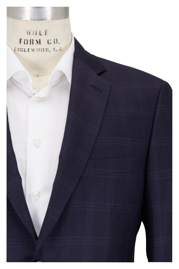 Brioni Navy Tonal Windowpane Suit