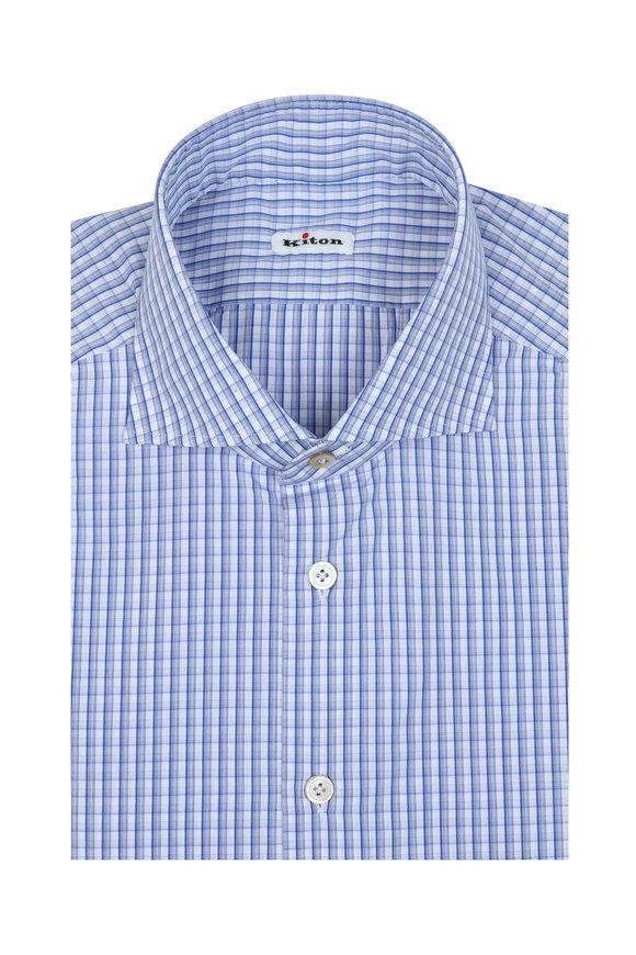 Kiton Blue & White Check Dress Shirt
