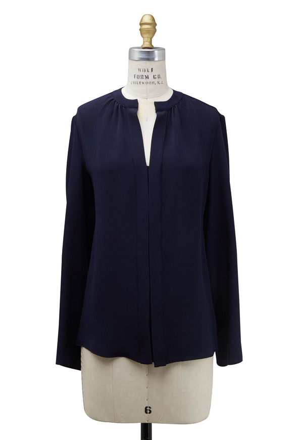 Derek Lam Navy Blue Silk Nehru Collar Blouse