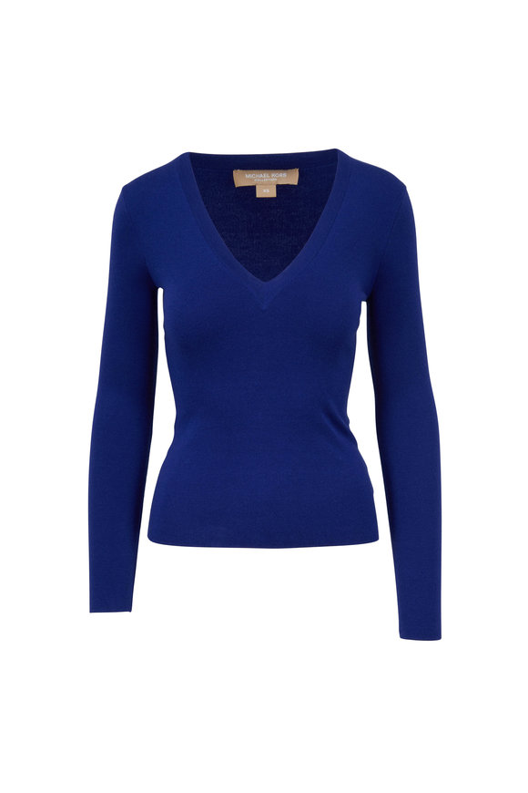 Michael Kors Collection Lapis Blue Cashmere V-Neck Sweater