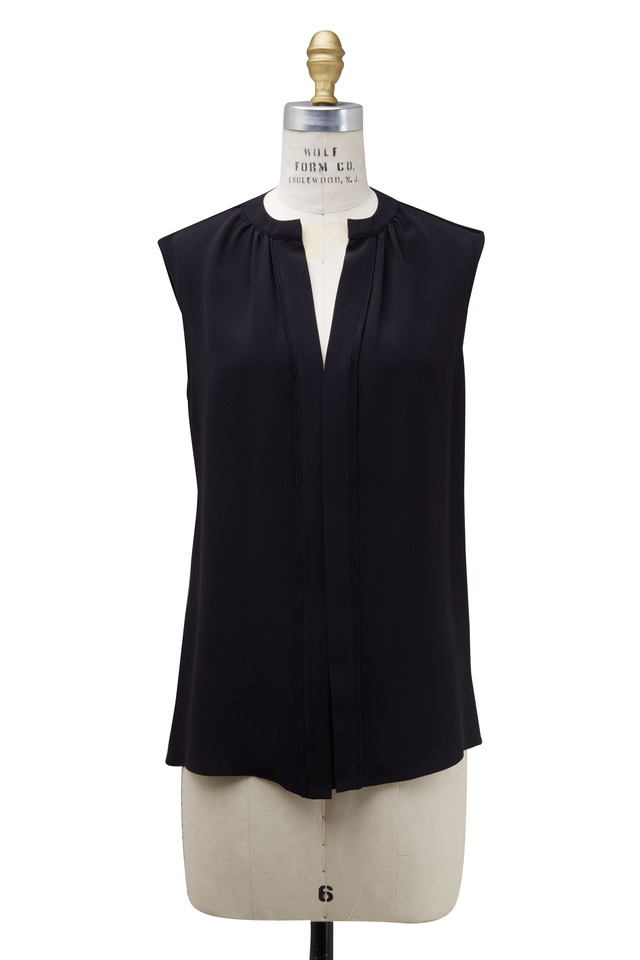 Black Silk Nehru Collar Sleeveless Blouse