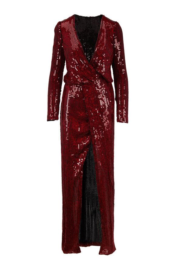 Galvan Vera Deep Red Hologram Sequin Long Sleeve Gown
