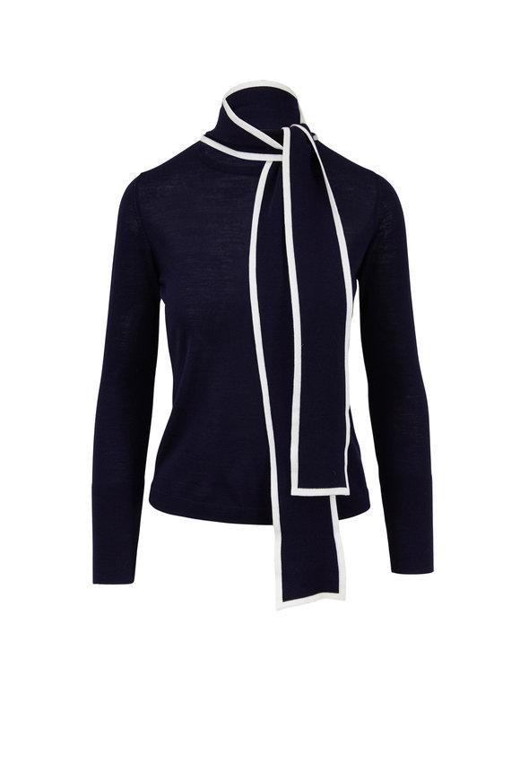 Escada Sbitter Navy Blue Tipped Tie-Neck Sweater