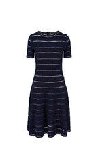 Oscar de la Renta - Navy Blue Lurex Knit Short Sleeve Dress
