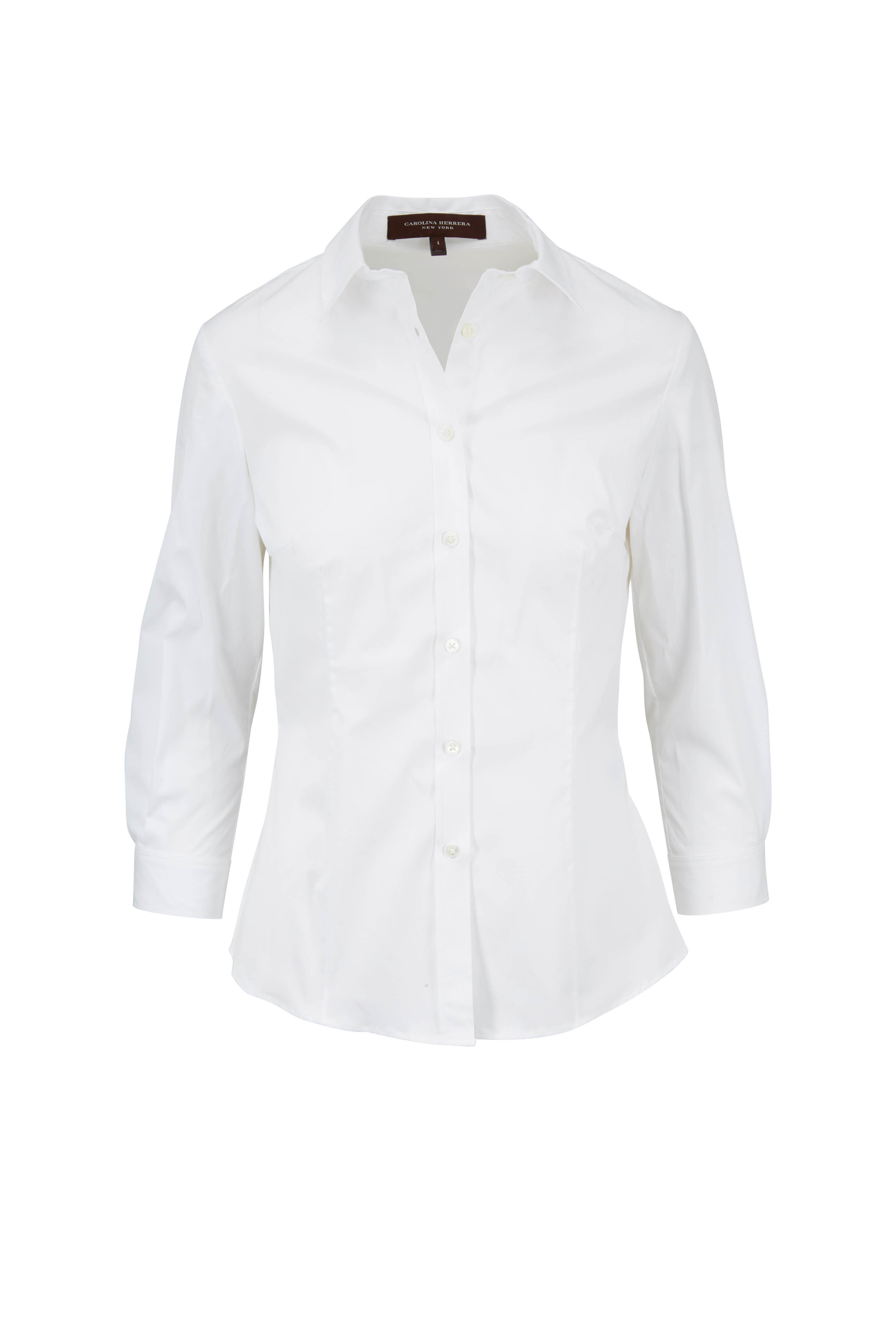 33e509e82c Carolina Herrera - White Stretch Cotton Three-Quarter Sleeve Blouse ...
