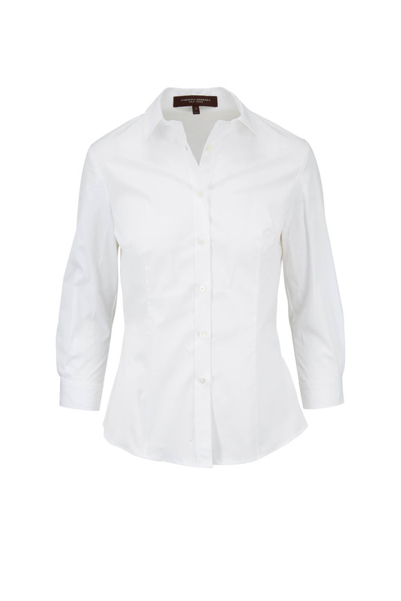 Carolina Herrera White Stretch Cotton Three-Quarter Sleeve Blouse