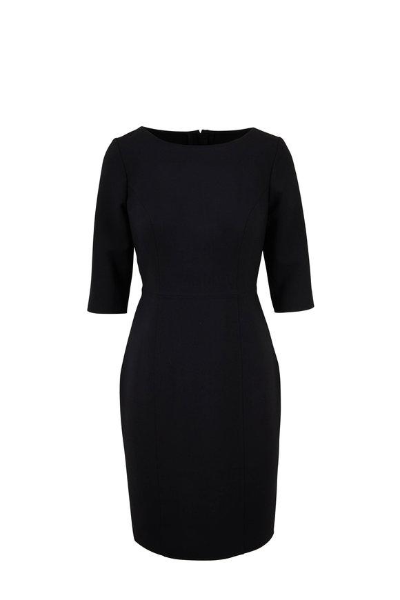 Carolina Herrera Black Three-Quarter Sleeve Sheath Dress
