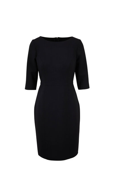 Carolina Herrera - Black Three-Quarter Sleeve Sheath Dress