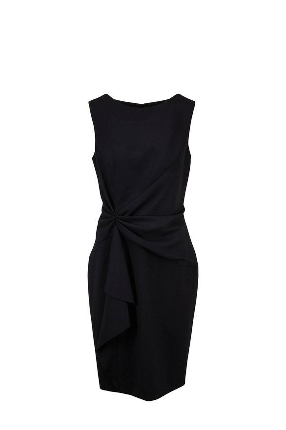 Carolina Herrera Black Stretch Wool Side-Twist Sleeveless Dress