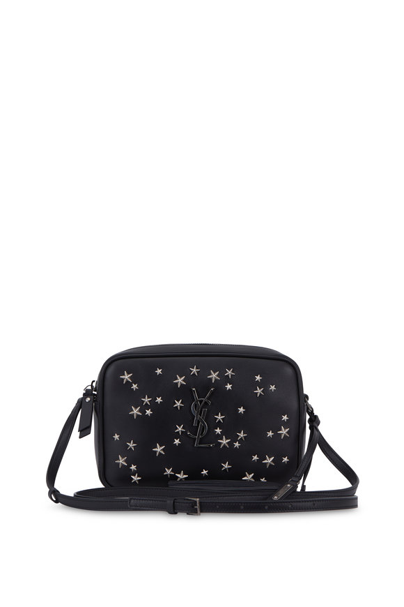 Saint Laurent Lou Monogram Black Leather Star Studded Crossbody