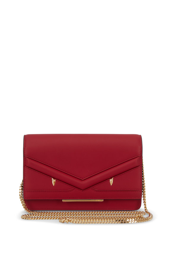 Fendi Bag Bugs Red Leather Chain Mini Bag