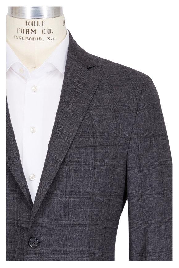 Samuelsohn Charcoal Grey Stretch Wool Plaid Suit