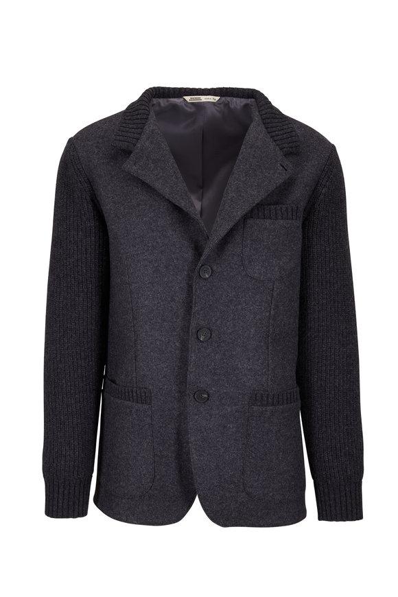 Maurizio Baldassari Charcoal Wool Mix Media Front Button Jacket