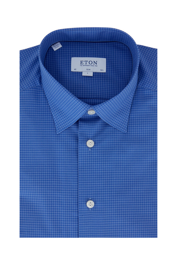 Eton Blue Check Slim Fit Dress Shirt