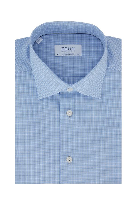 Eton Blue Check Contemporary Fit Dress Shirt