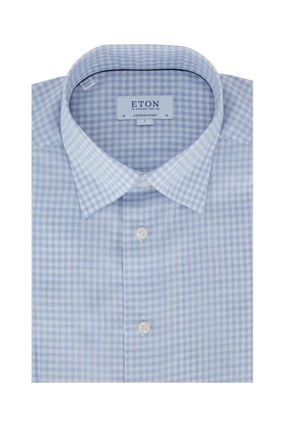 Eton Blue & White Check Contemporary Fit Dress Shirt