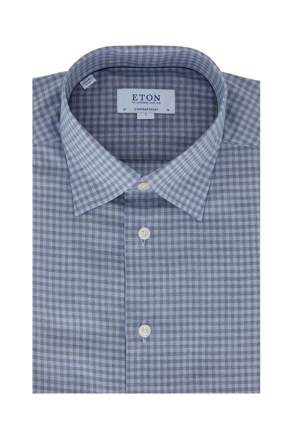 Eton Blue & Gray Check Contemporary Fit Dress Shirt