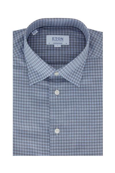 Eton - Blue & Gray Check Contemporary Fit Dress Shirt