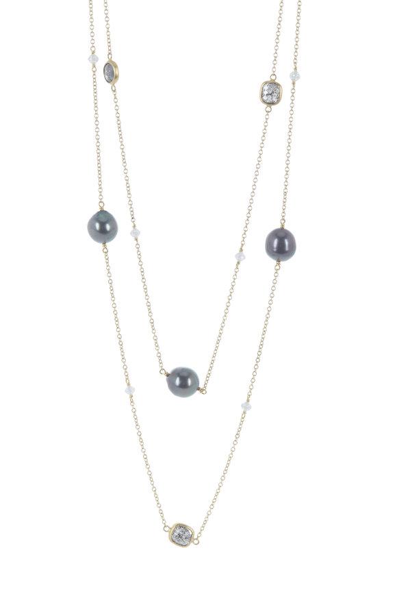 Caroline Ellen 22K Yellow Gold Diamond & Pearl Station Necklace