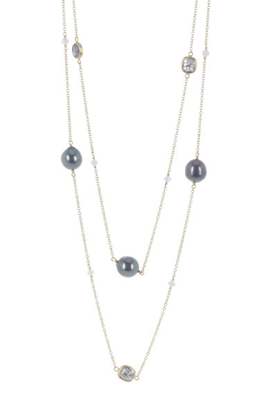 Caroline Ellen - 22K Yellow Gold Diamond & Pearl Station Necklace