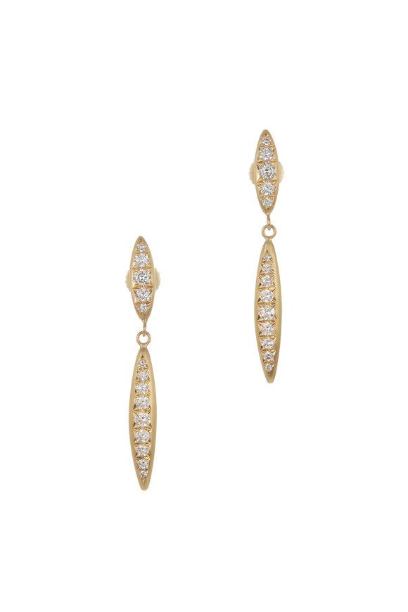 Caroline Ellen 20K Yellow Gold Double Spear Post Earrings